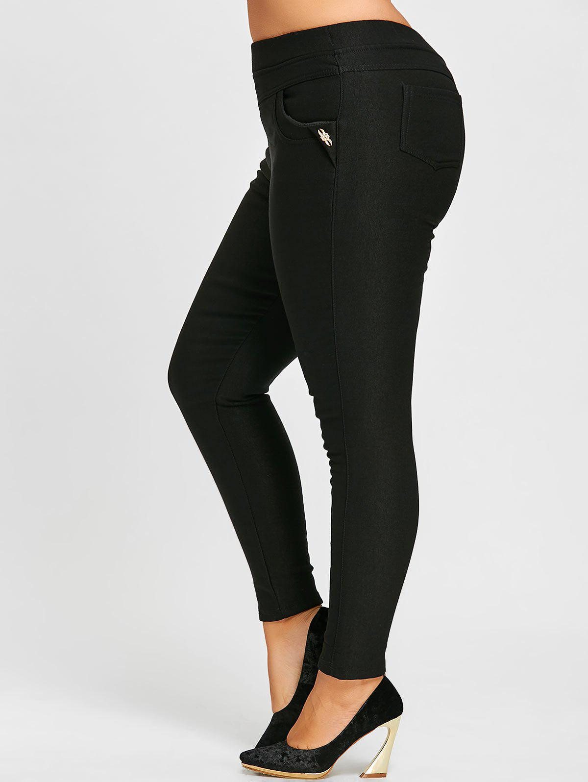 Fleece Lined Plus Size High Waist Tight PantsWOMEN<br><br>Size: 6XL; Color: BLACK; Style: Fashion; Length: Ninth; Material: Polyester; Fit Type: Skinny; Waist Type: High; Closure Type: Elastic Waist; Pattern Type: Solid; Embellishment: Pockets; Pant Style: Pencil Pants; Elasticity: Elastic; Weight: 0.6300kg; Package Contents: 1 x Pants;
