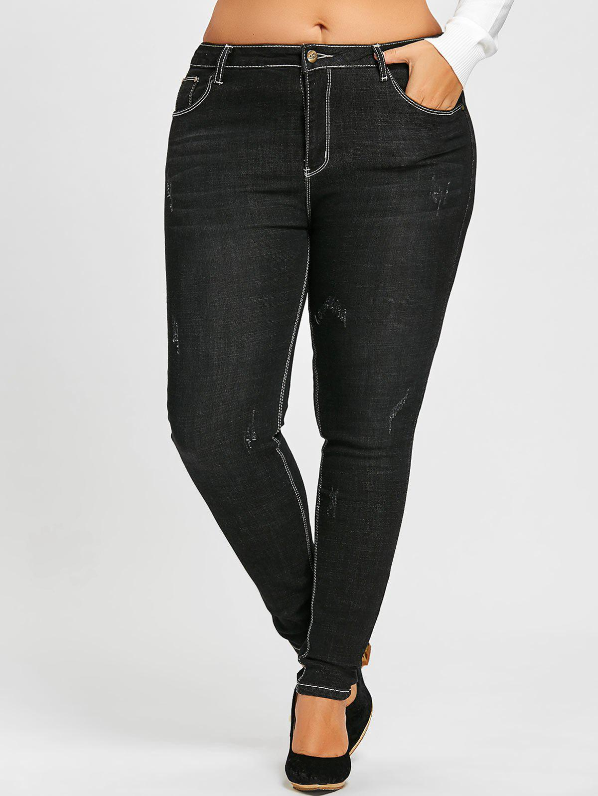 Plus Size Destroyed Wash Skinny JeansWOMEN<br><br>Size: 5XL; Color: BLACK; Style: Fashion; Length: Ninth; Material: Jeans,Polyester; Fabric Type: Denim; Fit Type: Skinny; Waist Type: High; Closure Type: Zipper Fly; Pattern Type: Solid; Embellishment: Pockets; Pant Style: Pencil Pants; Weight: 0.5700kg; Package Contents: 1 x Jeans;