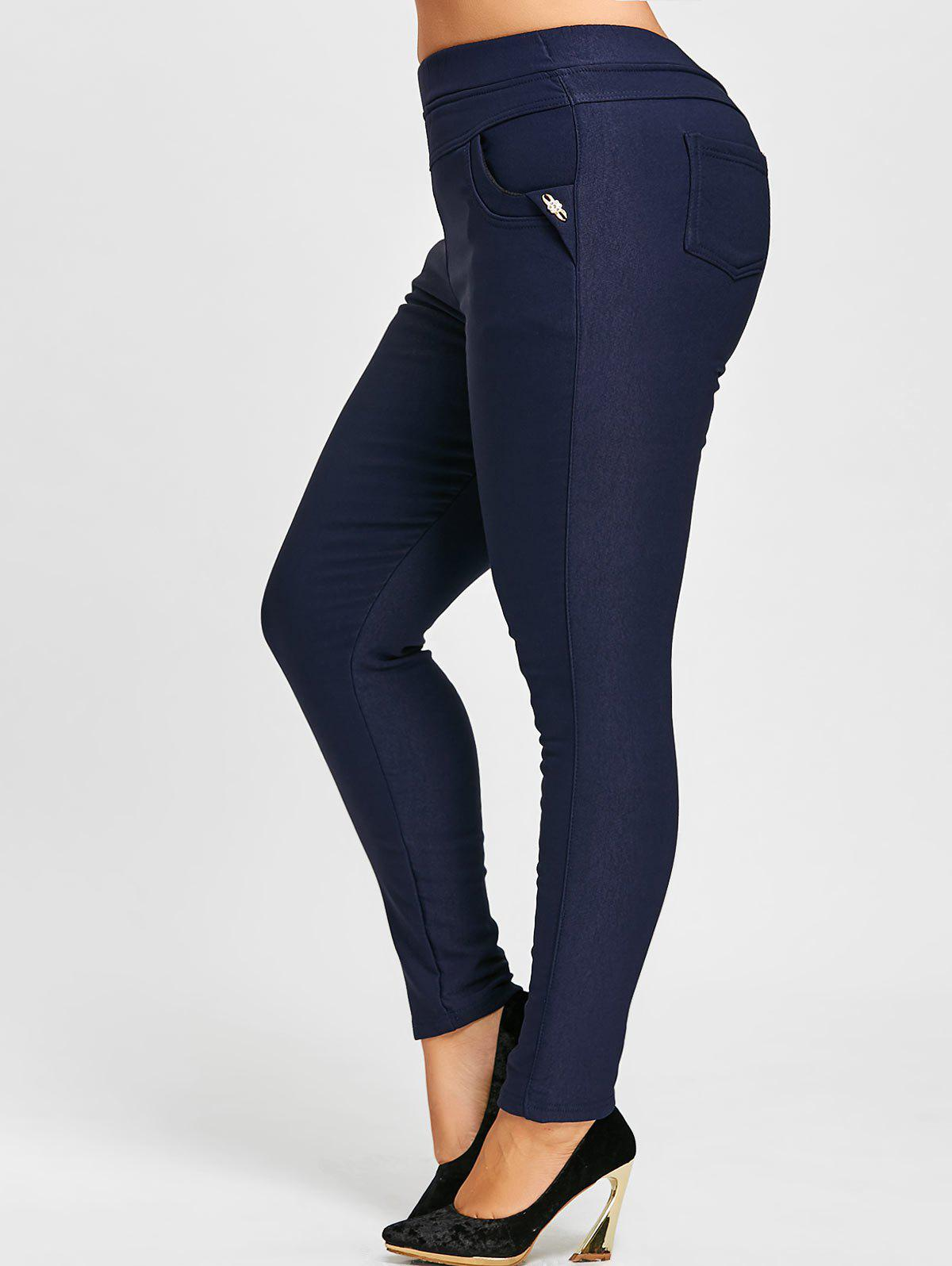 Elastic Waist Plus Size Fleece Lined Ponte PantsWOMEN<br><br>Size: 5XL; Color: PURPLISH BLUE; Style: Fashion; Length: Ninth; Material: Polyester; Fit Type: Skinny; Waist Type: High; Closure Type: Elastic Waist; Pattern Type: Solid; Pant Style: Pencil Pants; Elasticity: Elastic; Weight: 0.6500kg; Package Contents: 1 x Pants;