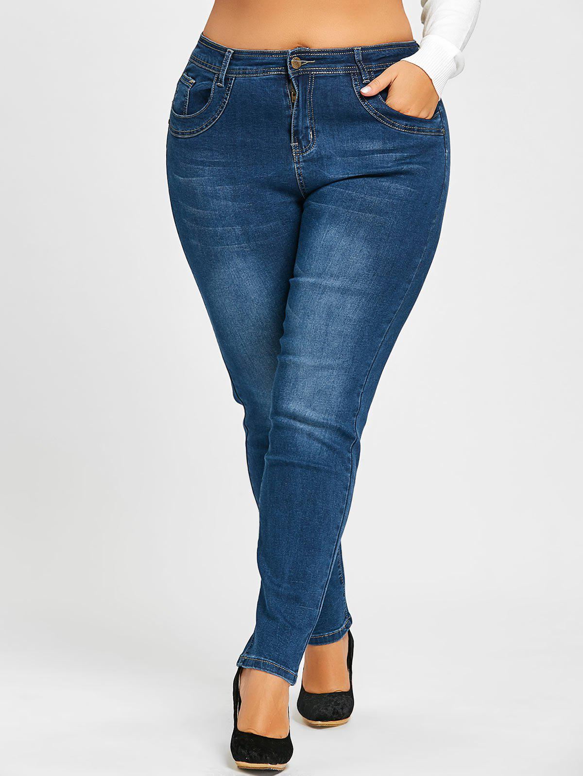 Plus Size Bleach Washed Stretch JeansWOMEN<br><br>Size: 2XL; Color: BLUE; Style: Fashion; Length: Normal; Material: Jeans; Fabric Type: Denim; Fit Type: Skinny; Waist Type: Mid; Closure Type: Zipper Fly; Pattern Type: Solid; Embellishment: Pockets; Pant Style: Pencil Pants; Weight: 0.6000kg; Package Contents: 1 x Jeans;