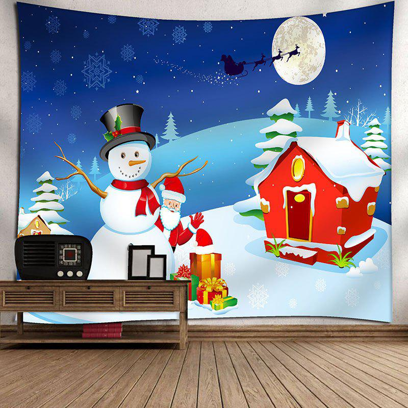 Waterproof Christmas Characters Printed Wall Hanging TapestryHOME<br><br>Size: W91 INCH * L71 INCH; Color: COLORFUL; Style: Festival; Theme: Christmas; Material: Velvet; Feature: Removable,Washable,Waterproof; Shape/Pattern: Snowman; Weight: 0.4200kg; Package Contents: 1 x Tapestry;