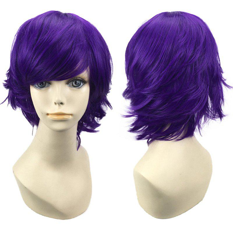 Short Side Bang Straight Synthetic Cosplay WigHAIR<br><br>Color: DEEP PURPLE; Type: Full Wigs; Style: Straight; Material: Synthetic Hair; Bang Type: Side; Length: Short; Length Size(CM): 28; Weight: 0.1200kg; Package Contents: 1 x Wig;
