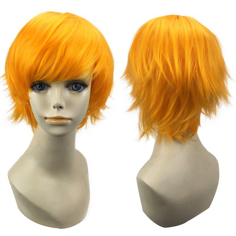 Short Side Bang Straight Synthetic Cosplay WigHAIR<br><br>Color: YELLOW; Type: Full Wigs; Style: Straight; Material: Synthetic Hair; Bang Type: Side; Length: Short; Length Size(CM): 28; Weight: 0.1200kg; Package Contents: 1 x Wig;