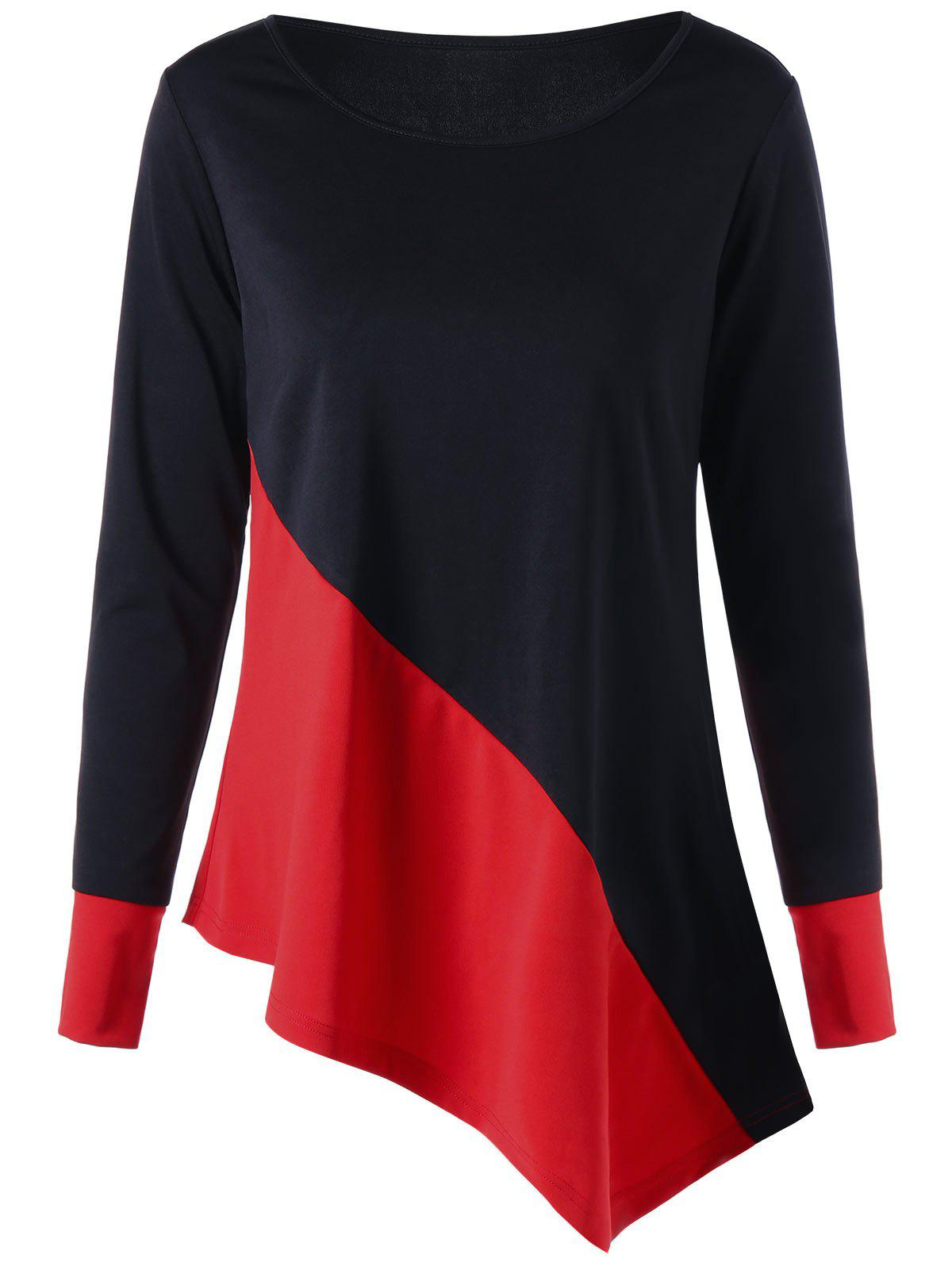 Color Block Long Sleeve Asymmetric TopWOMEN<br><br>Size: M; Color: RED WITH BLACK; Material: Polyester,Spandex; Shirt Length: Regular; Sleeve Length: Full; Collar: Scoop Neck; Style: Casual; Pattern Type: Others; Season: Fall,Spring; Weight: 0.2830kg; Package Contents: 1 x Top;