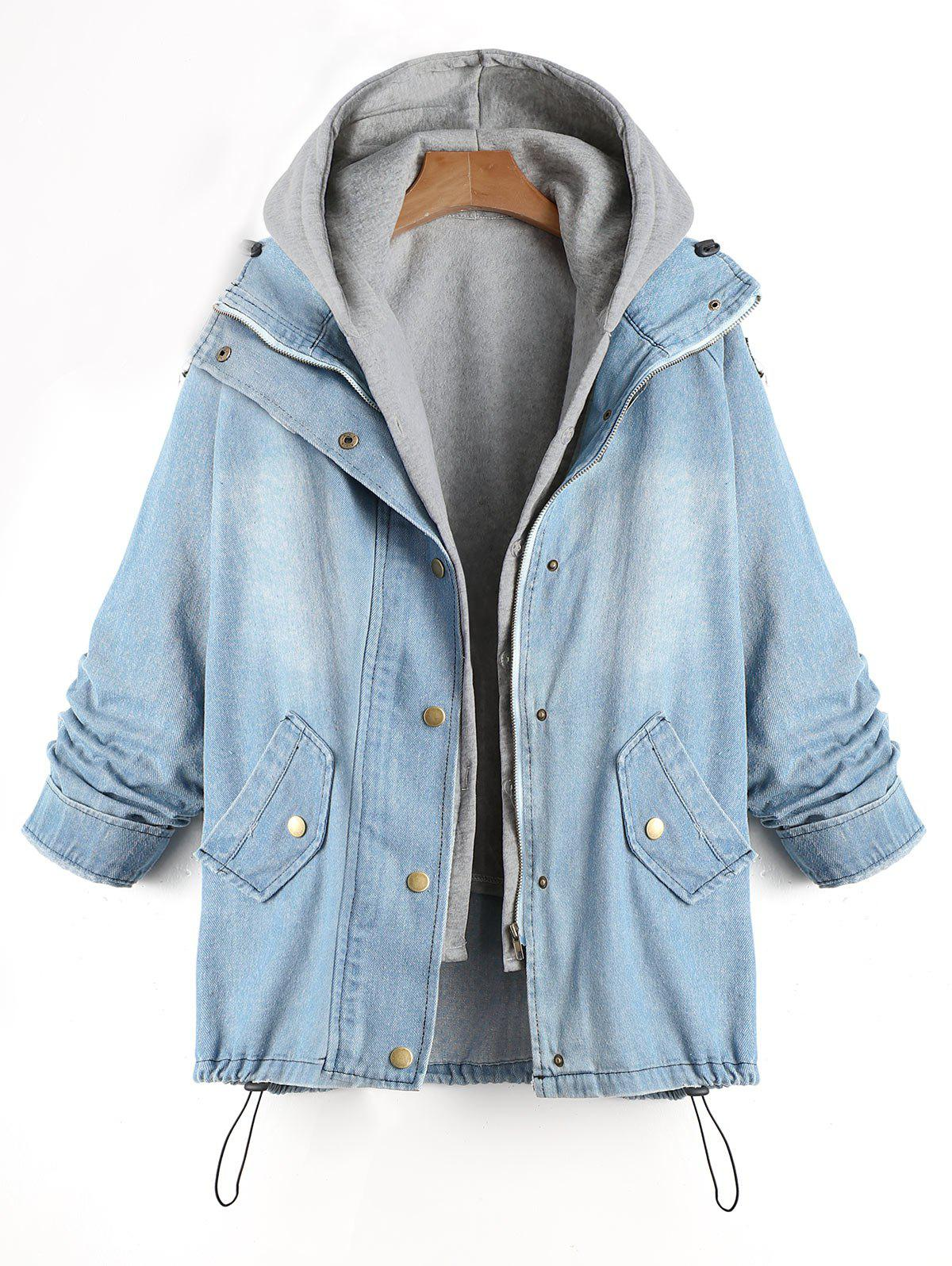 Convertible Two Piece Plus Size Denim CoatWOMEN<br><br>Size: 4XL; Color: DENIM BLUE; Clothes Type: Others; Material: Polyester,Spandex; Type: Slim; Shirt Length: Regular; Sleeve Length: Full; Collar: Hooded; Pattern Type: Solid; Style: Fashion; Season: Fall,Winter; Weight: 0.7700kg; Package Contents: 1 x Coat  1 x Tank;