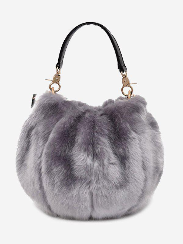 Multi Function Faux Fur Handbag With StrapSHOES &amp; BAGS<br><br>Color: GRAY; Handbag Type: Totes; Style: Fashion; Gender: For Women; Pattern Type: Solid; Handbag Size: Mini(&lt;20cm); Closure Type: Magnetic Closure; Occasion: Versatile; Main Material: Faux Fur; Weight: 0.5500kg; Package Contents: 1 x Handbag;