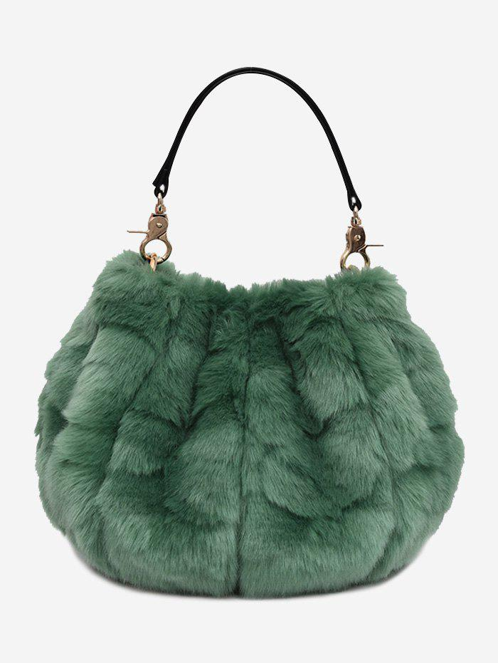 Multi Function Faux Fur Handbag With StrapSHOES &amp; BAGS<br><br>Color: GREEN; Handbag Type: Totes; Style: Fashion; Gender: For Women; Pattern Type: Solid; Handbag Size: Mini(&lt;20cm); Closure Type: Magnetic Closure; Occasion: Versatile; Main Material: Faux Fur; Weight: 0.5500kg; Package Contents: 1 x Handbag;