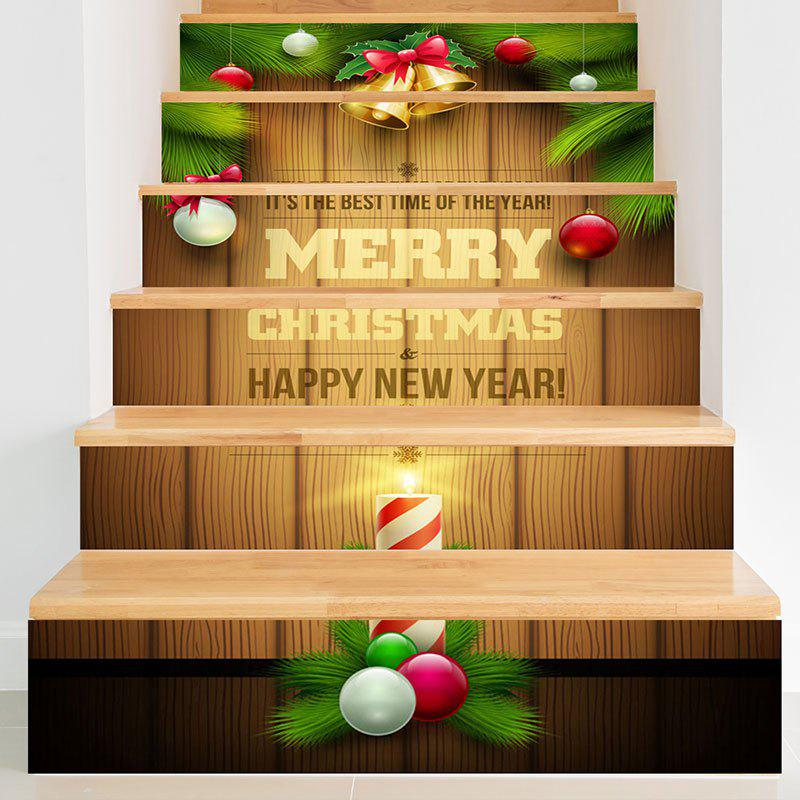 Christmas Woodgrain Pattern Decorative Stair StickersHOME<br><br>Size: 6PCS:39*7 INCH( NO FRAME ); Color: COLORFUL; Wall Sticker Type: Plane Wall Stickers; Functions: Stair Stickers; Theme: Christmas; Pattern Type: Ball,Letter; Material: PVC; Feature: Removable; Weight: 0.3100kg; Package Contents: 1 x Stair Stickers;