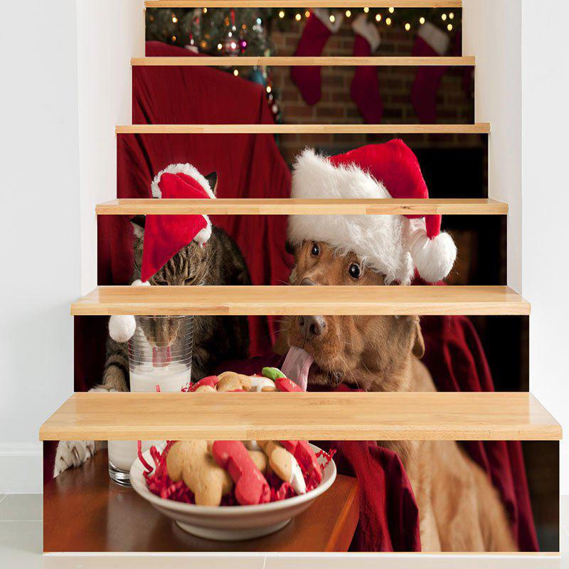 Christmas Dog Cat Pattern Decorative Stair StickersHOME<br><br>Size: 6PCS:39*7 INCH( NO FRAME ); Color: COLORFUL; Wall Sticker Type: Plane Wall Stickers; Functions: Stair Stickers; Theme: Christmas; Pattern Type: Animal; Material: PVC; Feature: Removable; Weight: 0.3100kg; Package Contents: 1 x Stair Stickers;