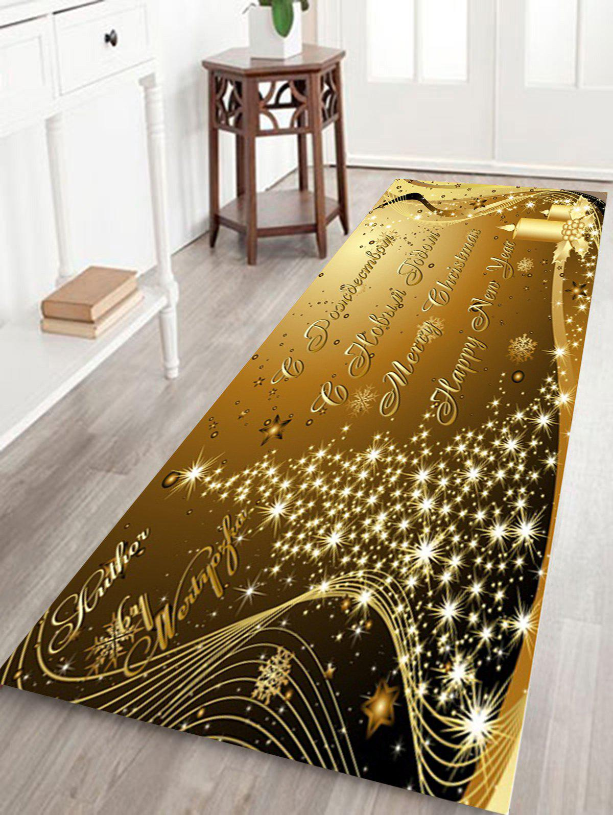 Shop Sparkling Christmas Tree Letter Print Fleece Skidproof Bath Mat
