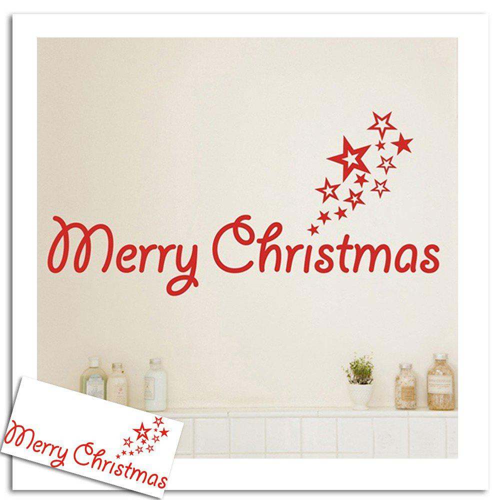 Merry Christmas Stars Pattern Wall Stickers For Living RoomHOME<br><br>Color: RED; Wall Sticker Type: Plane Wall Stickers; Functions: Decorative Wall Stickers; Theme: Christmas; Pattern Type: Letter; Material: PVC; Feature: Removable; Weight: 0.0900kg; Package Contents: 1 x Wall Stickers;