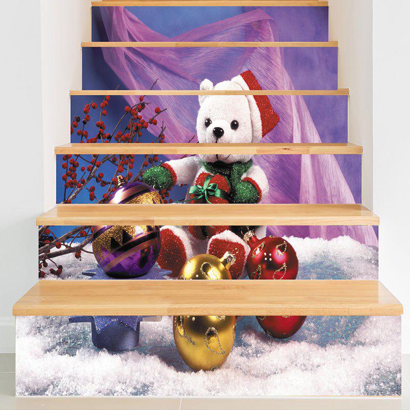 Christmas Bear Baubles Pattern Decorative Stair StickersHOME<br><br>Size: 6PCS:39*7 INCH( NO FRAME ); Color: COLORFUL; Wall Sticker Type: Plane Wall Stickers; Functions: Stair Stickers; Theme: Christmas; Pattern Type: Animal,Ball; Material: PVC; Feature: Removable; Weight: 0.3100kg; Package Contents: 1 x Stair Stickers;