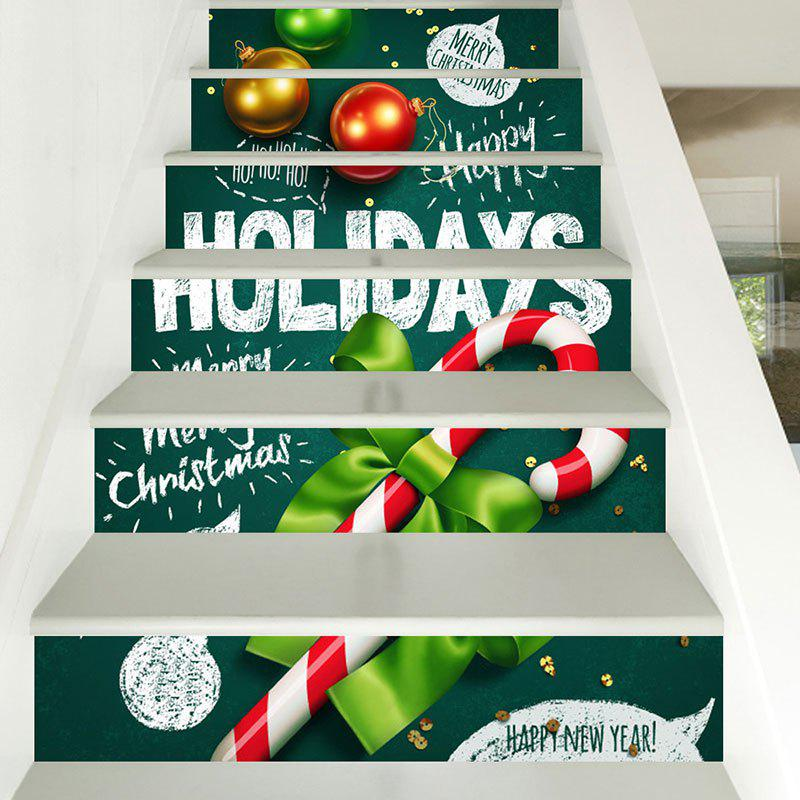Christmas Candy Cane Pattern Decorative Stair StickersHOME<br><br>Size: 6PCS:39*7 INCH( NO FRAME ); Color: COLORFUL; Wall Sticker Type: Plane Wall Stickers; Functions: Stair Stickers; Theme: Christmas; Pattern Type: Ball,Letter; Material: PVC; Feature: Removable; Weight: 0.3100kg; Package Contents: 1 x Stair Stickers;