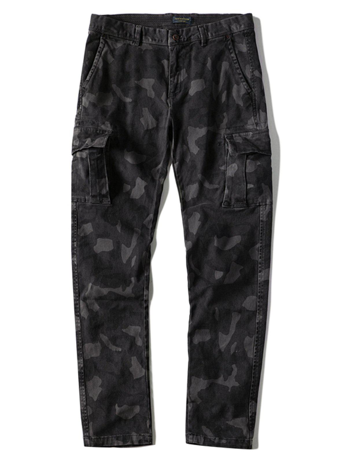 Discount Multi-pocket Slim Fit Camo Cargo Pants