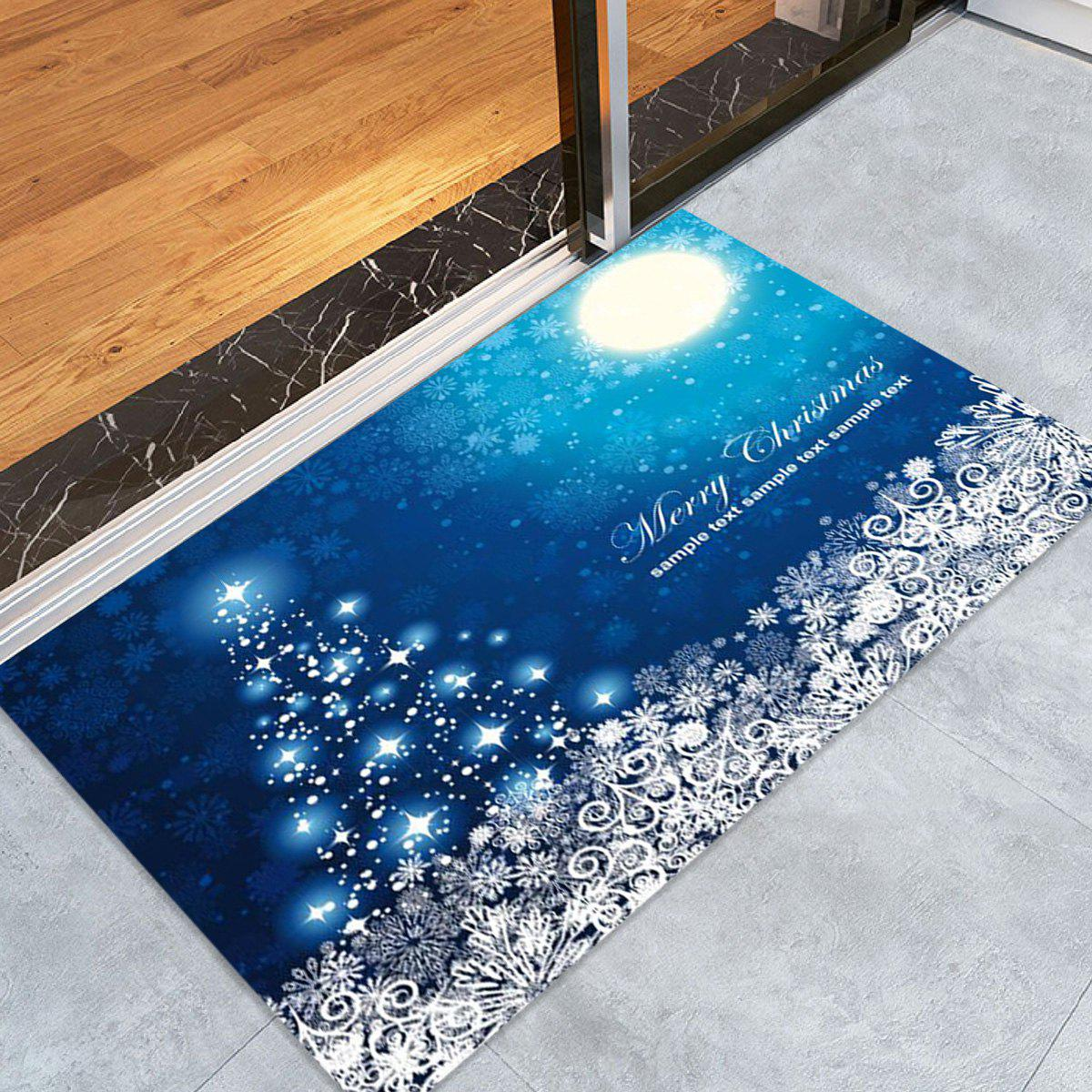 New Sparkling Christmas Tree Snowflake Print Fleece Nonslip Bath Rug