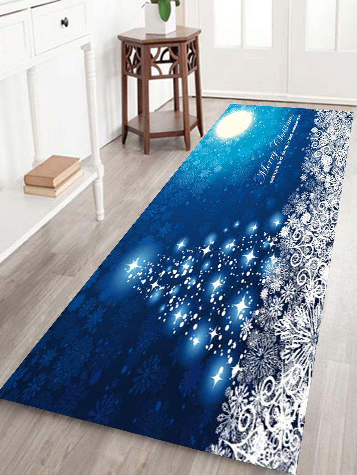 Sparkling Christmas Tree Snowflake Print Coral Fleece Nonslip Bath RugHOME<br><br>Size: W24 INCH * L71 INCH; Color: BLUE; Products Type: Bath rugs; Materials: Coral FLeece; Pattern: Christmas Tree,Letter,Snowflake; Style: Festival; Shape: Rectangular; Package Contents: 1 x Rug;
