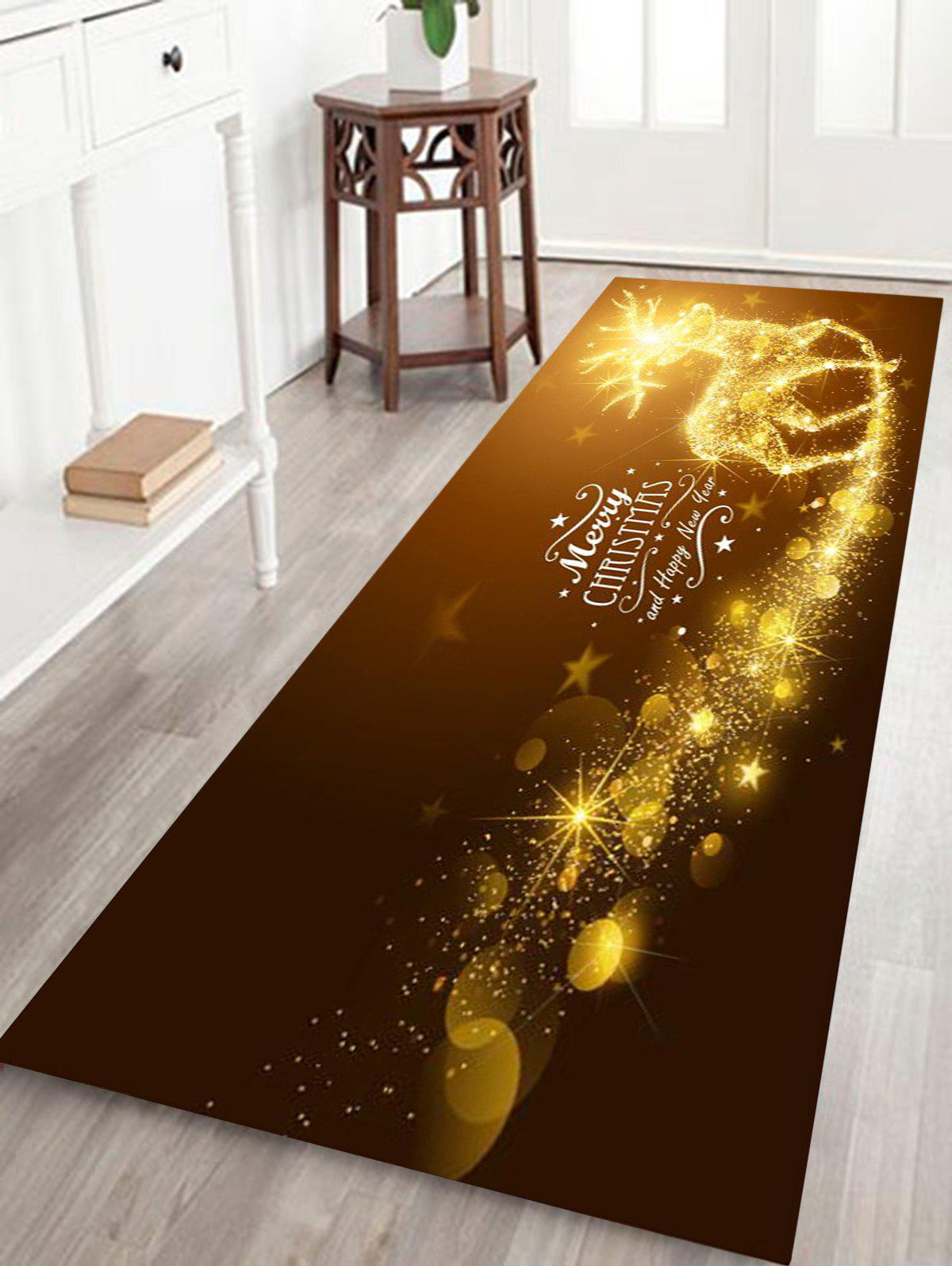 Sparkling Christmas Deer Print Coral Fleece Antiskid Bath MatHOME<br><br>Size: W16 INCH * L47 INCH; Color: GOLD BROWN; Products Type: Bath rugs; Materials: Coral FLeece; Pattern: Elk,Letter; Style: Festival; Shape: Rectangular; Package Contents: 1 x Rug;