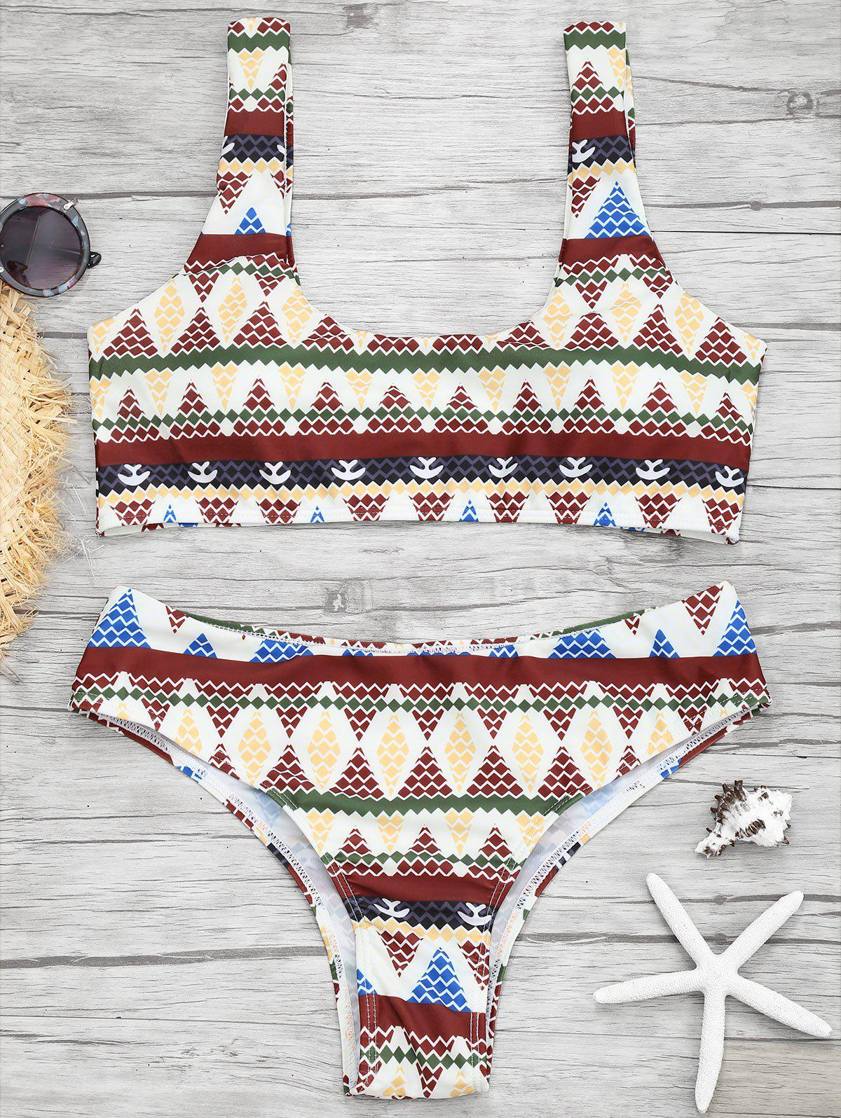 Unique Print U Neck Bikini Set