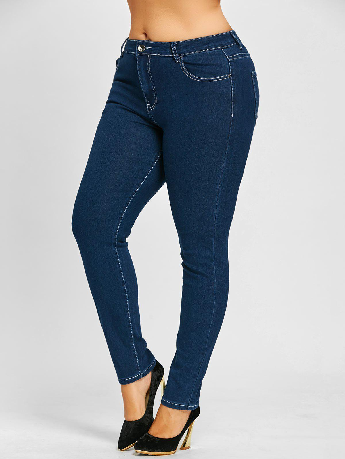 Plus Size Zip Up High Waist Stretch JeansWOMEN<br><br>Size: 4XL; Color: BLUE; Style: Fashion; Length: Ninth; Material: Jeans; Fit Type: Skinny; Waist Type: High; Closure Type: Zipper Fly; Pattern Type: Solid; Embellishment: Pockets; Pant Style: Pencil Pants; Weight: 0.6200kg; Package Contents: 1 x Jeans;