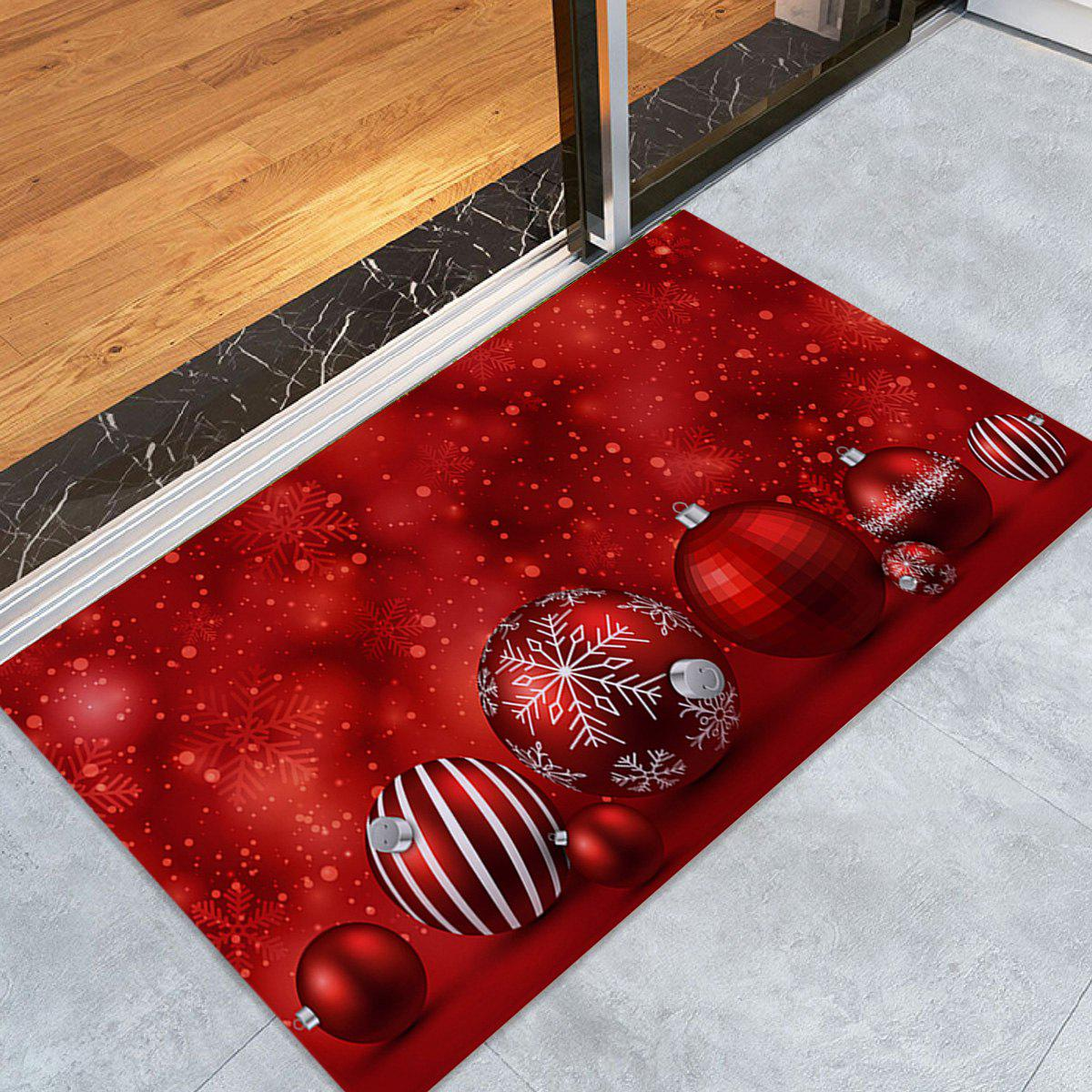 Christmas Balls Pattern Skidproof Coral Fleece Bath RugHOME<br><br>Size: W16 INCH * L24 INCH; Color: RED; Products Type: Bath rugs; Materials: Coral FLeece; Pattern: Ball; Style: Festival; Shape: Rectangular; Package Contents: 1 x Rug;