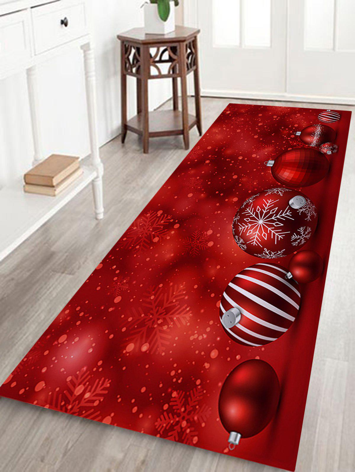 Christmas Balls Pattern Skidproof Coral Fleece Bath RugHOME<br><br>Size: W16 INCH * L47 INCH; Color: RED; Products Type: Bath rugs; Materials: Coral FLeece; Pattern: Ball; Style: Festival; Shape: Rectangular; Package Contents: 1 x Rug;