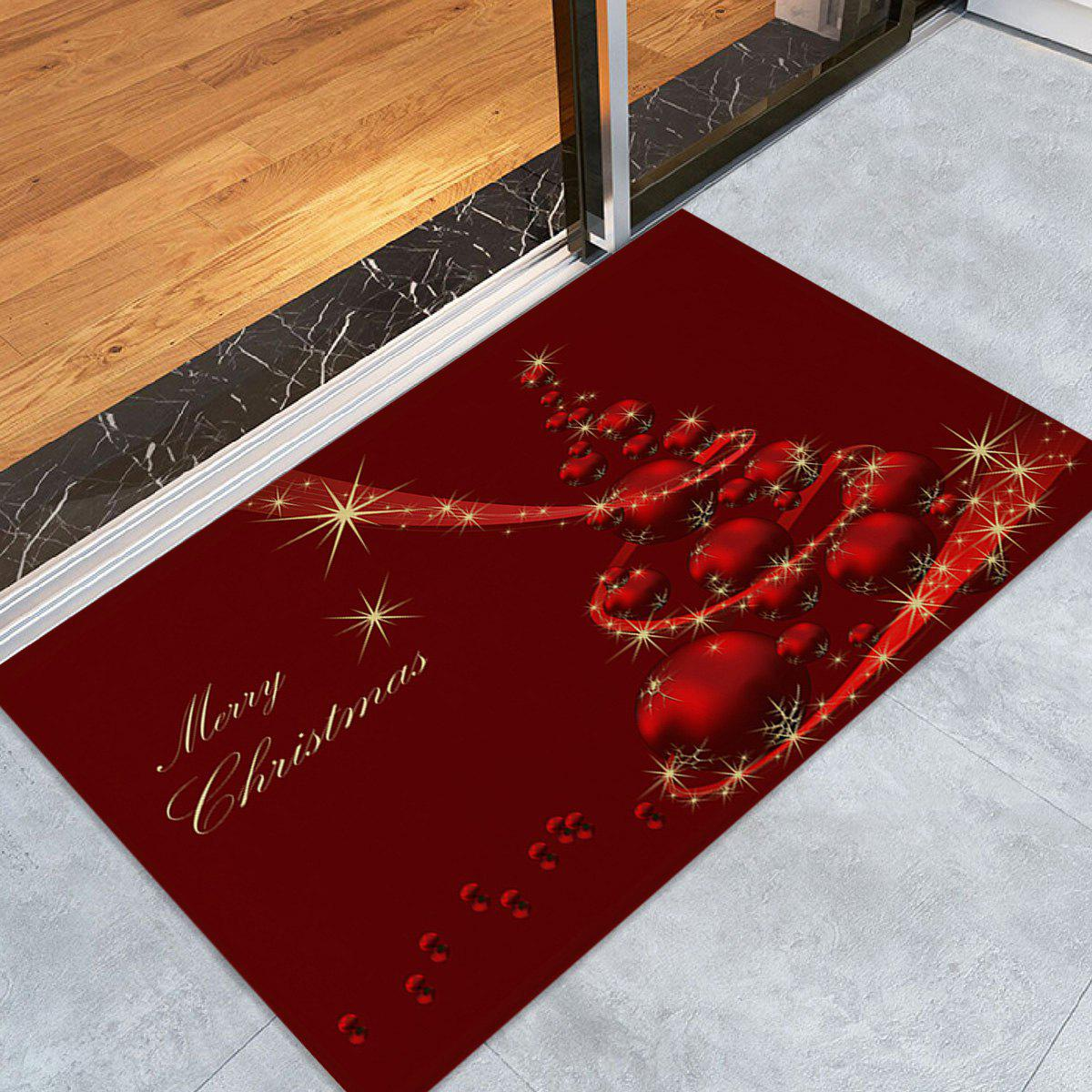 Christmas Balls Tree Print Coral Fleece Antiskid Bath RugHOME<br><br>Size: W16 INCH * L24 INCH; Color: DEEP RED; Products Type: Bath rugs; Materials: Coral FLeece; Pattern: Ball,Christmas Tree; Style: Festival; Shape: Rectangular; Package Contents: 1 x Rug;