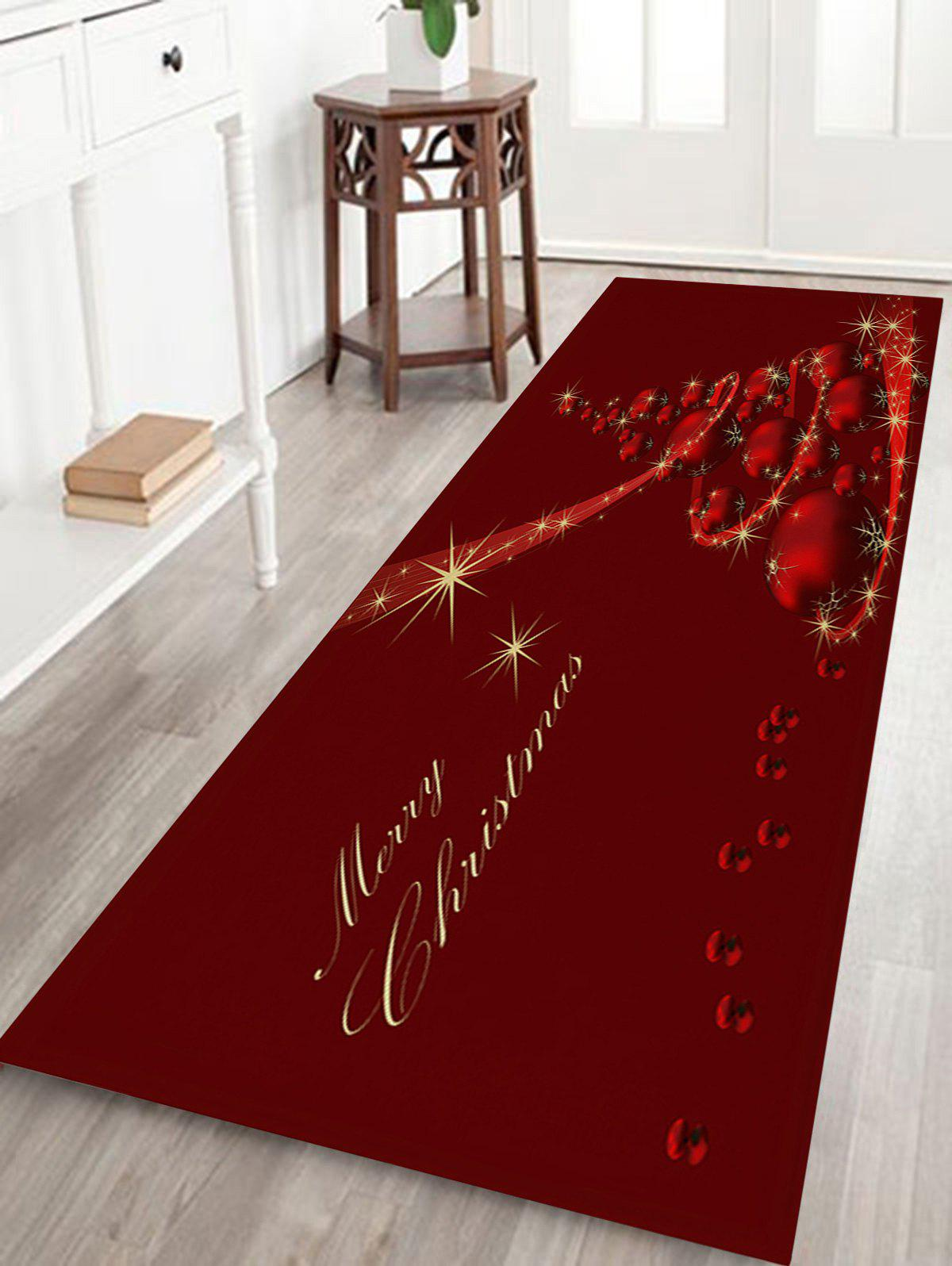 Christmas Balls Tree Print Coral Fleece Antiskid Bath RugHOME<br><br>Size: W24 INCH * L71 INCH; Color: DEEP RED; Products Type: Bath rugs; Materials: Coral FLeece; Pattern: Ball,Christmas Tree; Style: Festival; Shape: Rectangular; Package Contents: 1 x Rug;