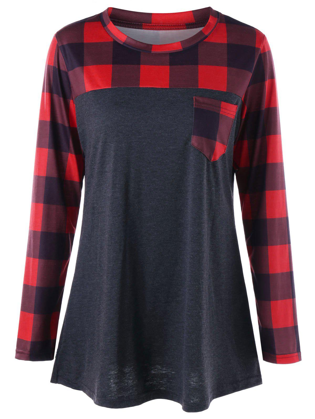 Plus Size Patch Pocket Plaid Long Sleeve T-shirtWOMEN<br><br>Size: 5XL; Color: RED WITH BLACK; Material: Polyester,Spandex; Shirt Length: Long; Sleeve Length: Full; Collar: Round Neck; Style: Casual; Season: Fall,Spring; Pattern Type: Plaid; Weight: 0.3400kg; Package Contents: 1 x T-shirt;
