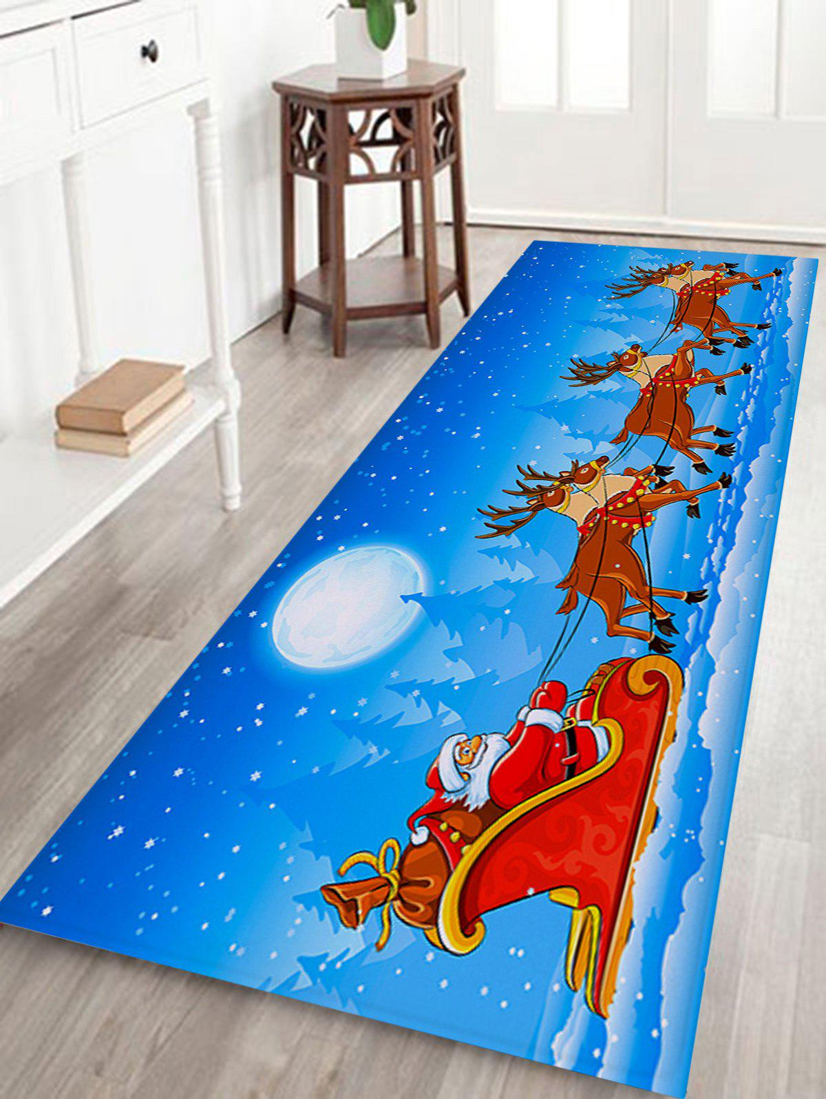 Christmas Sled Pattern Coral Fleece Skidproof Bath RugHOME<br><br>Size: W24 INCH * L71 INCH; Color: SKY BLUE; Products Type: Bath rugs; Materials: Coral FLeece; Pattern: Elk,Moon,Santa Claus; Style: Festival; Shape: Rectangular; Package Contents: 1 x Rug;