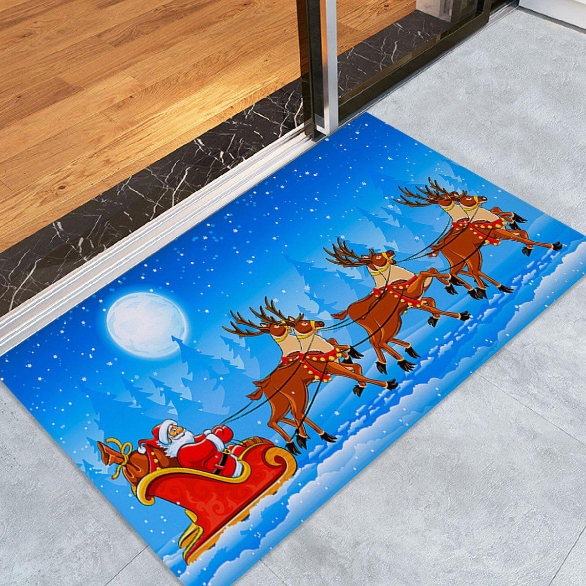 Christmas Sled Pattern Coral Fleece Skidproof Bath RugHOME<br><br>Size: W24 INCH * L35.5 INCH; Color: SKY BLUE; Products Type: Bath rugs; Materials: Coral FLeece; Pattern: Elk,Moon,Santa Claus; Style: Festival; Shape: Rectangular; Package Contents: 1 x Rug;