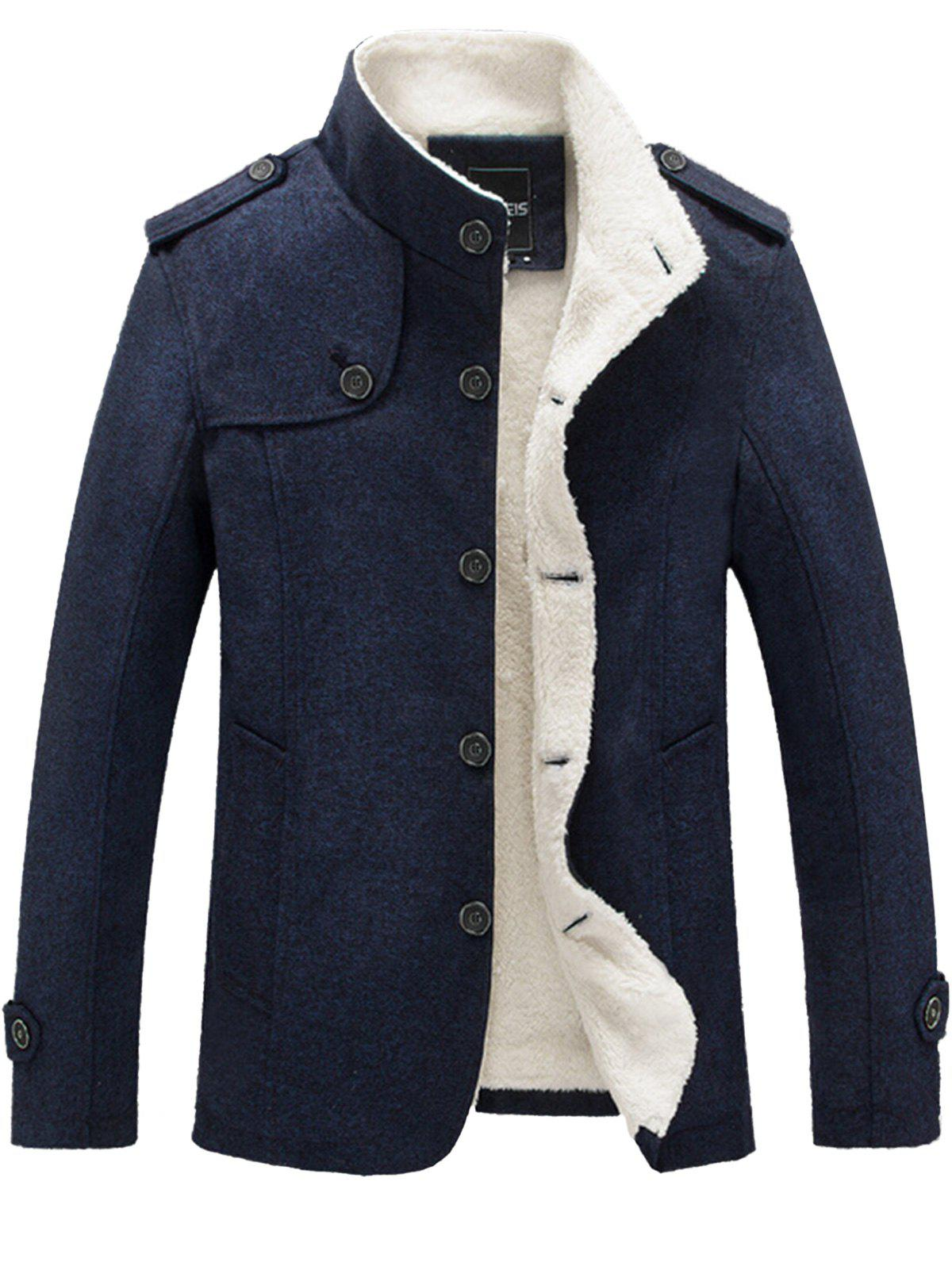 Epaulet Faux Shearling Lining Button Up JacketMEN<br><br>Size: 3XL; Color: BLUE; Clothes Type: Jackets; Style: Casual,Fashion,Streetwear; Material: Cotton,Polyester; Collar: Stand Collar; Shirt Length: Regular; Sleeve Length: Long Sleeves; Season: Fall,Winter; Closure Type: Single Breasted; Occasion: Casual,Daily Use,Going Out; Weight: 1.2200kg; Package Contents: 1 x Jacket;