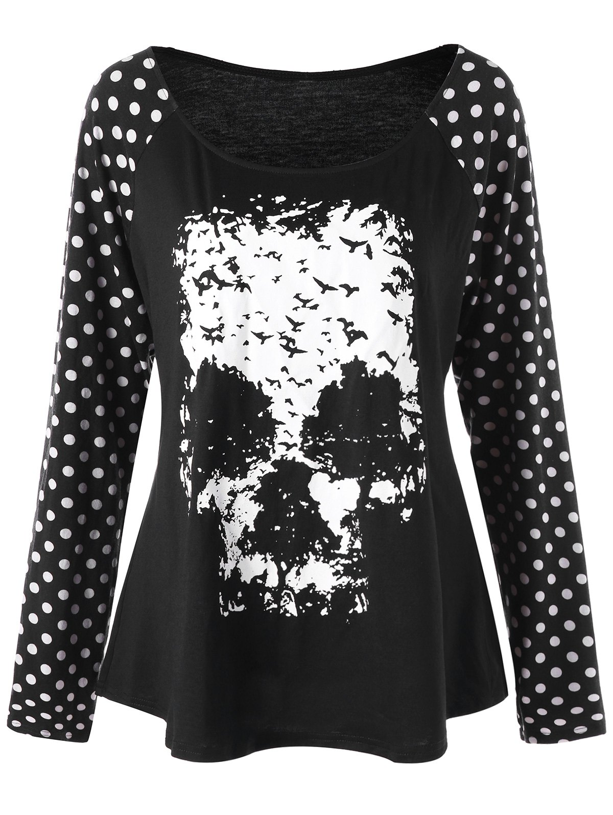 Plus Size Skull Polka Dot T-shirtWOMEN<br><br>Size: 2XL; Color: BLACK; Material: Polyester,Spandex; Shirt Length: Regular; Sleeve Length: Full; Collar: Scoop Neck; Style: Casual; Season: Fall,Spring; Pattern Type: Polka Dot,Skulls; Weight: 0.2900kg; Package Contents: 1 x T-shirt;