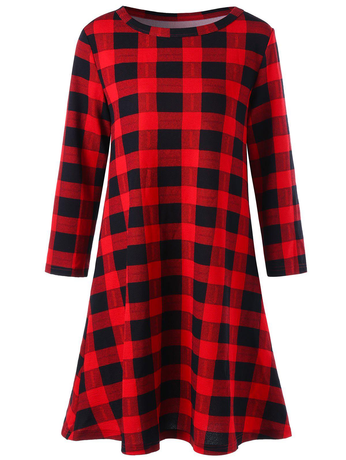 Christmas Plaid Swing Mini DressWOMEN<br><br>Size: 2XL; Color: PLAID; Style: Brief; Material: Polyester,Spandex; Silhouette: A-Line; Dresses Length: Mini; Neckline: Round Collar; Sleeve Length: Long Sleeves; Pattern Type: Plaid; With Belt: No; Season: Fall,Spring; Weight: 0.3300kg; Package Contents: 1 x Dress;
