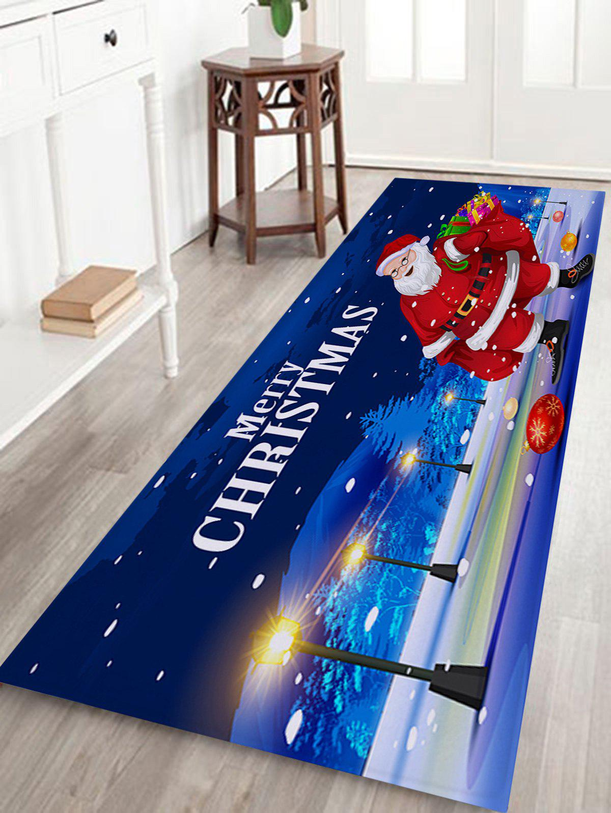 Santa Claus Pattern Coral Fleece Nonslip Christmas Bath MatHOME<br><br>Size: W16 INCH * L47 INCH; Color: BLUE; Products Type: Bath rugs; Materials: Coral FLeece; Pattern: Letter,Santa Claus; Style: Festival; Shape: Rectangular; Package Contents: 1 x Rug;