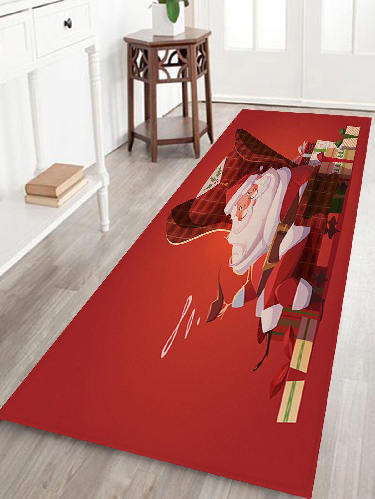 Santa Claus Christmas Gift Print Coral Nonslip Fleece Bath RugHOME<br><br>Size: W24 INCH * L71 INCH; Color: RED; Products Type: Bath rugs; Materials: Coral FLeece; Pattern: Gift,Santa Claus; Style: Festival; Shape: Rectangular; Package Contents: 1 x Rug;