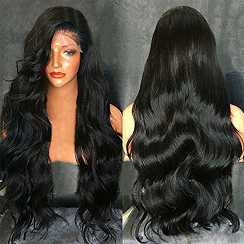 Discount Long Free Part Fluffy Body Wave Lace Front Human Hair Wig
