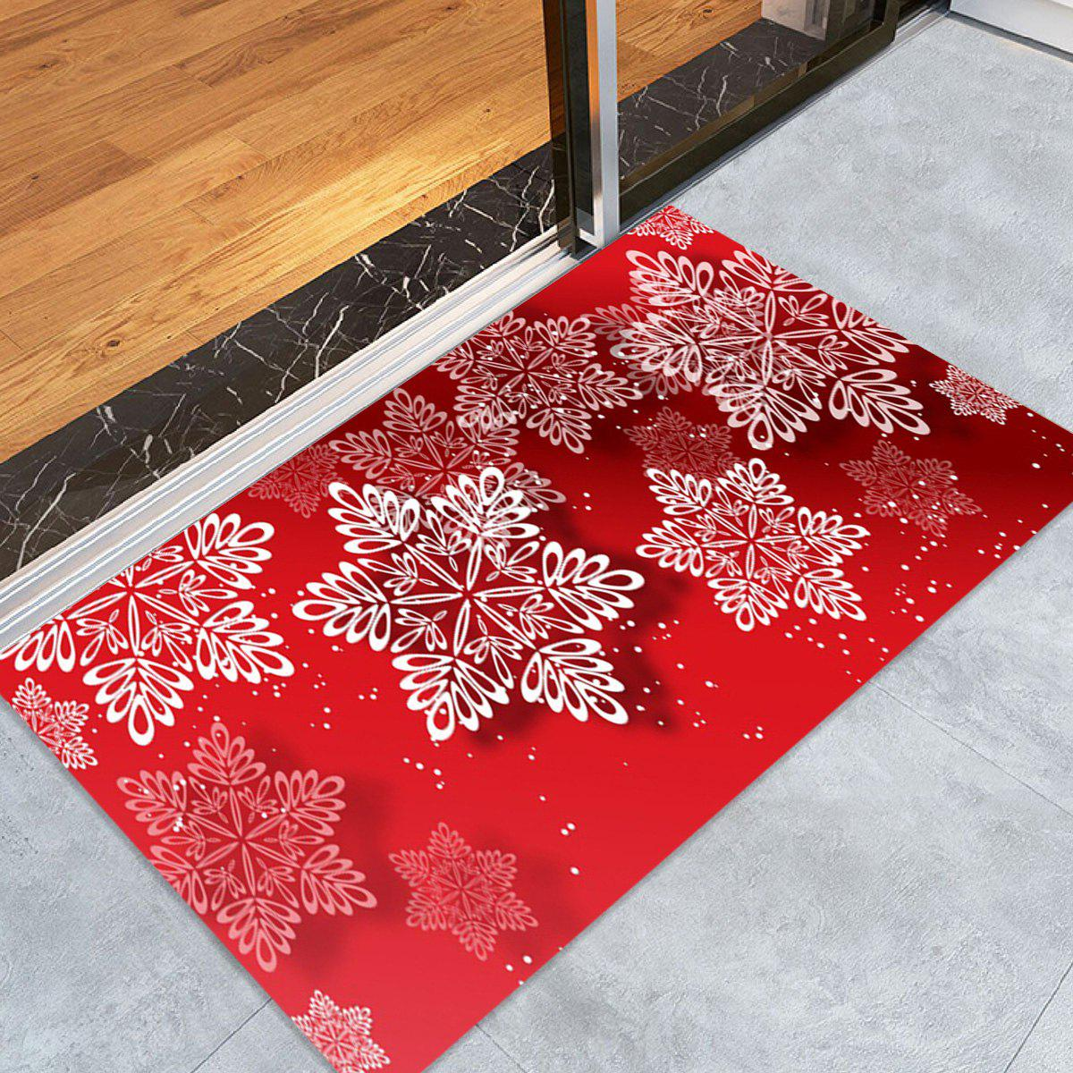 Christmas Snowflakes Pattern Anti-skid Water Absorption Area RugHOME<br><br>Size: W24 INCH * L35.5 INCH; Color: RED; Products Type: Bath rugs; Materials: Coral FLeece; Pattern: Snowflake; Style: Festival; Shape: Rectangle; Package Contents: 1 x Rug;
