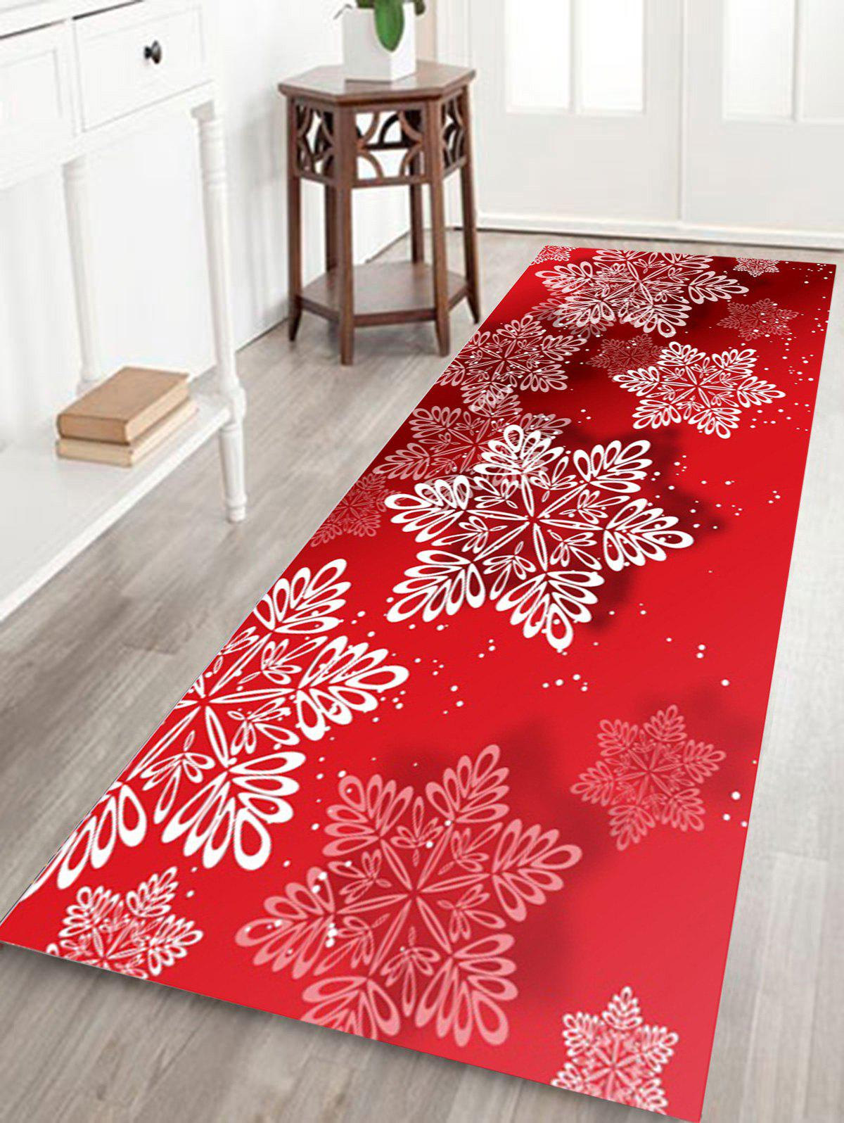 Christmas Snowflakes Pattern Anti-skid Water Absorption Area RugHOME<br><br>Size: W16 INCH * L47 INCH; Color: RED; Products Type: Bath rugs; Materials: Coral FLeece; Pattern: Snowflake; Style: Festival; Shape: Rectangle; Package Contents: 1 x Rug;