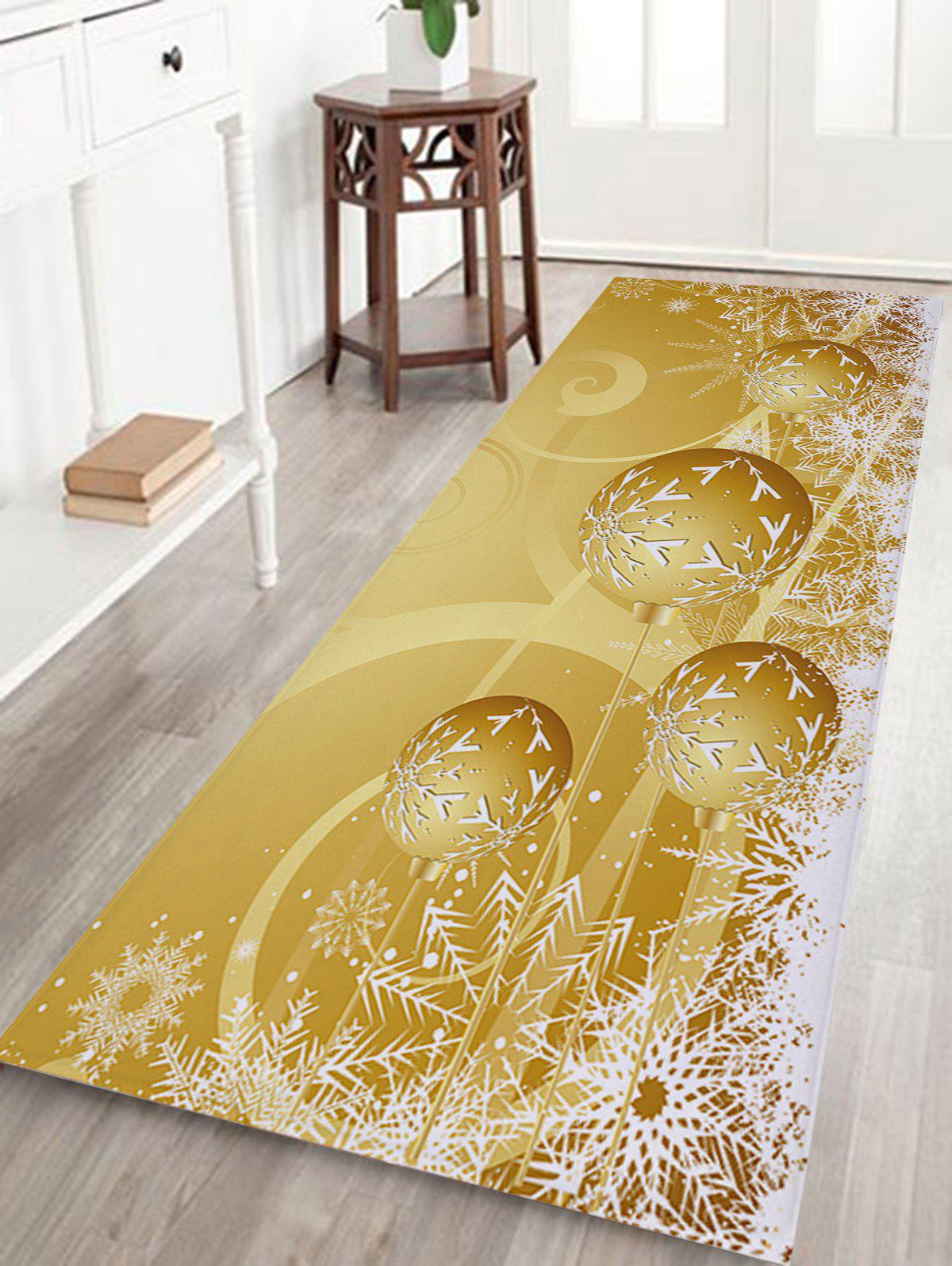 Christmas Balls Snowflake Print Nonslip Coral Fleece Bath MatHOME<br><br>Size: W24 INCH * L71 INCH; Color: GOLDEN; Products Type: Bath rugs; Materials: Coral FLeece; Pattern: Ball,Snowflake; Style: Festival; Shape: Rectangular; Package Contents: 1 x Rug;
