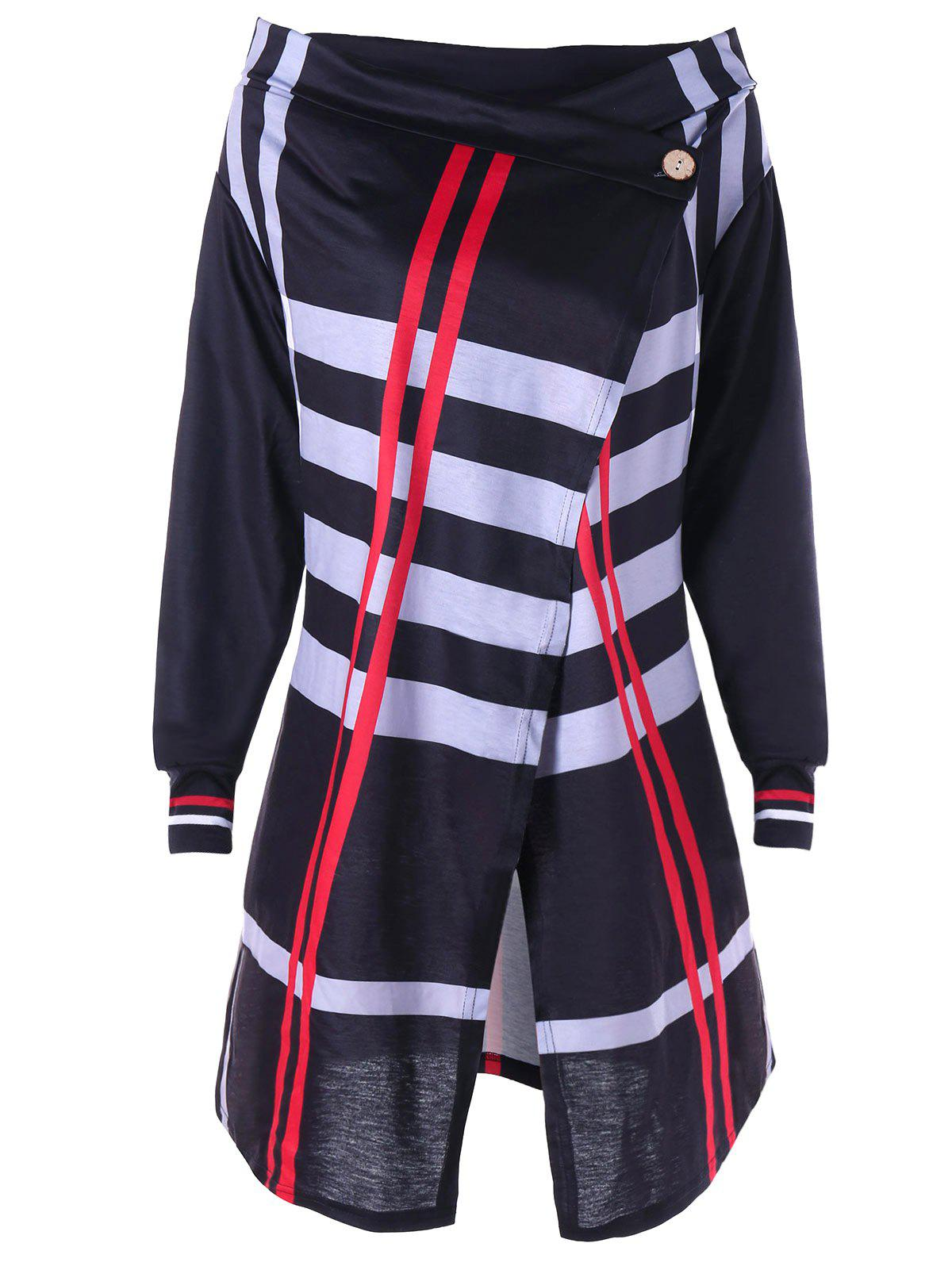 Plus Size Long Sleeve Slit Stripes CoatWOMEN<br><br>Size: 5XL; Color: COLORMIX; Clothes Type: Others; Material: Polyester,Spandex; Type: Asymmetric Length; Shirt Length: Long; Sleeve Length: Full; Collar: Off The Shoulder; Closure Type: Single Breasted; Pattern Type: Striped; Embellishment: Slit; Style: Casual; Season: Fall,Spring,Winter; Weight: 0.4300kg; Package Contents: 1 x Coat;