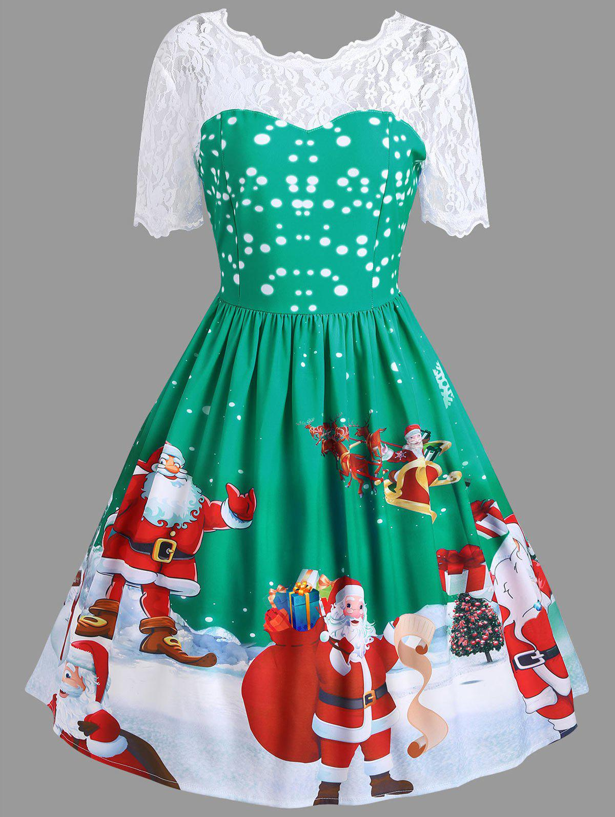 Vintage Lace Insert Santa Claus Print Christmas DressWOMEN<br><br>Size: XL; Color: GREEN; Style: Vintage; Material: Polyester,Spandex; Silhouette: A-Line; Dresses Length: Knee-Length; Neckline: Round Collar; Sleeve Length: Short Sleeves; Pattern Type: Patchwork,Print; With Belt: No; Season: Fall,Spring; Weight: 0.3500kg; Package Contents: 1 x Dress;