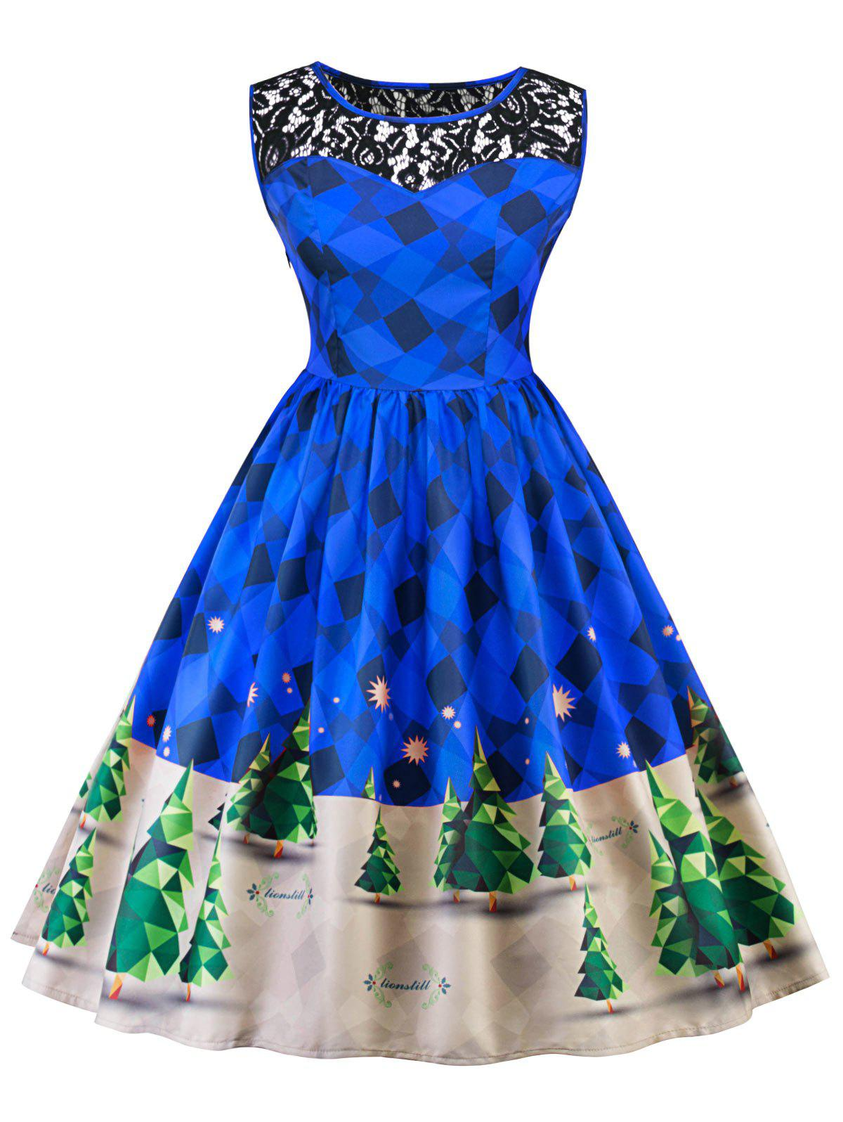 Vintage Christmas Lace Insert Pin Up Skater DressWOMEN<br><br>Size: XL; Color: BLUE; Style: Vintage; Material: Polyester; Silhouette: A-Line; Dresses Length: Knee-Length; Neckline: Round Collar; Sleeve Length: Sleeveless; Pattern Type: Patchwork,Print; With Belt: No; Season: Fall,Spring; Weight: 0.2800kg; Package Contents: 1 x Dress;