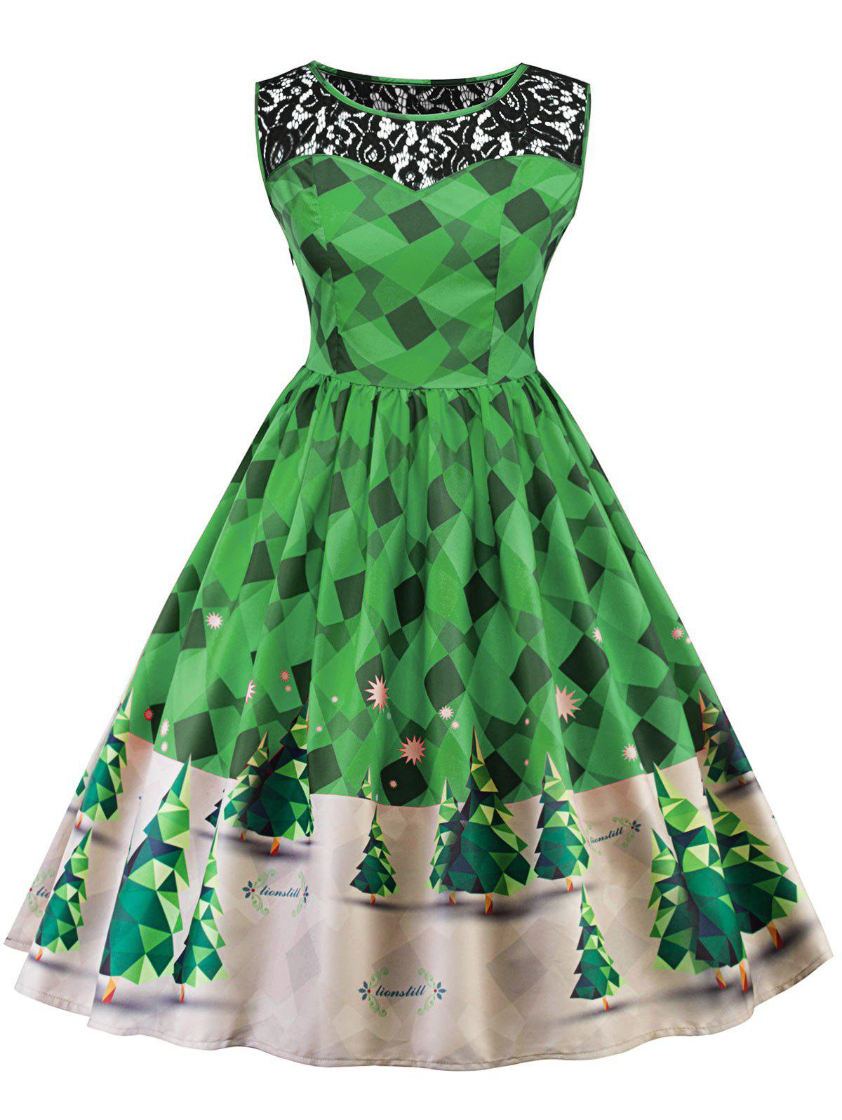 Vintage Christmas Lace Insert Pin Up Skater DressWOMEN<br><br>Size: 2XL; Color: GREEN; Style: Vintage; Material: Polyester; Silhouette: A-Line; Dresses Length: Knee-Length; Neckline: Round Collar; Sleeve Length: Sleeveless; Pattern Type: Patchwork,Print; With Belt: No; Season: Fall,Spring; Weight: 0.2800kg; Package Contents: 1 x Dress;