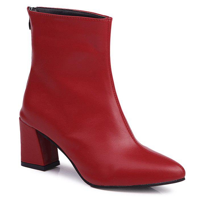 Block Heel Pointed Toe Short BootsSHOES &amp; BAGS<br><br>Size: 40; Color: RED; Gender: For Women; Boot Type: Fashion Boots; Boot Height: Ankle; Toe Shape: Pointed Toe; Heel Type: Chunky Heel; Heel Height Range: Med(1.75-2.75); Closure Type: Zip; Shoe Width: Medium(B/M); Pattern Type: Solid; Upper Material: PU; Weight: 1.1200kg; Season: Spring/Fall,Winter; Heel Height: 6.5CM; Package Contents: 1 x Boots (pair);