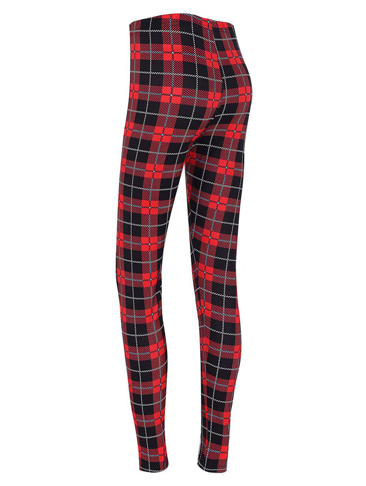 Christmas Plaid High Waisted LeggingsWOMEN<br><br>Size: L; Color: CHECKED; Style: Fashion; Material: Polyester,Spandex; Waist Type: High; Pattern Type: Print; Weight: 0.2200kg; Package Contents: 1 x Leggings;