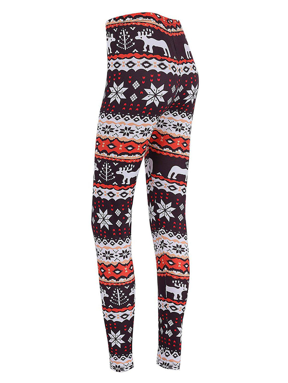 Buy Skinny Elk Snowflake Print Christmas Leggings