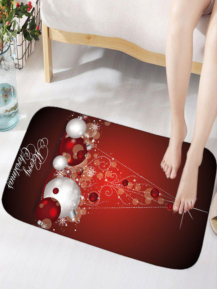 Christmas Balls Pattern Antislip Flannel Bath RugHOME<br><br>Size: W16 INCH * L24 INCH; Color: DARK RED; Products Type: Bath rugs; Materials: Flannel; Style: Festival; Shape: Rectangular; Package Contents: 1 x Rug;