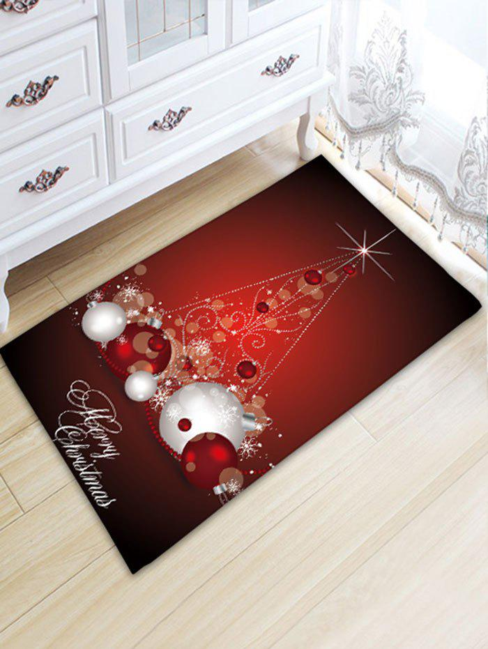 Christmas Balls Pattern Antislip Flannel Bath RugHOME<br><br>Size: W20 INCH * L31.5 INCH; Color: DARK RED; Products Type: Bath rugs; Materials: Flannel; Style: Festival; Shape: Rectangular; Package Contents: 1 x Rug;