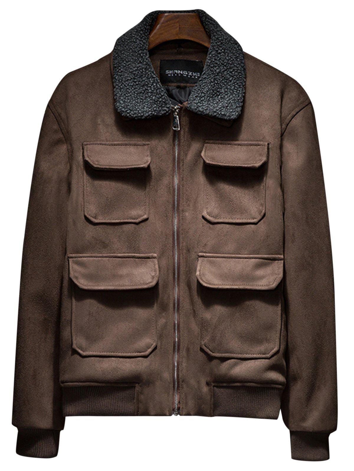 Shop Faux Fur Collar Zip Up Padded Suede Jacket