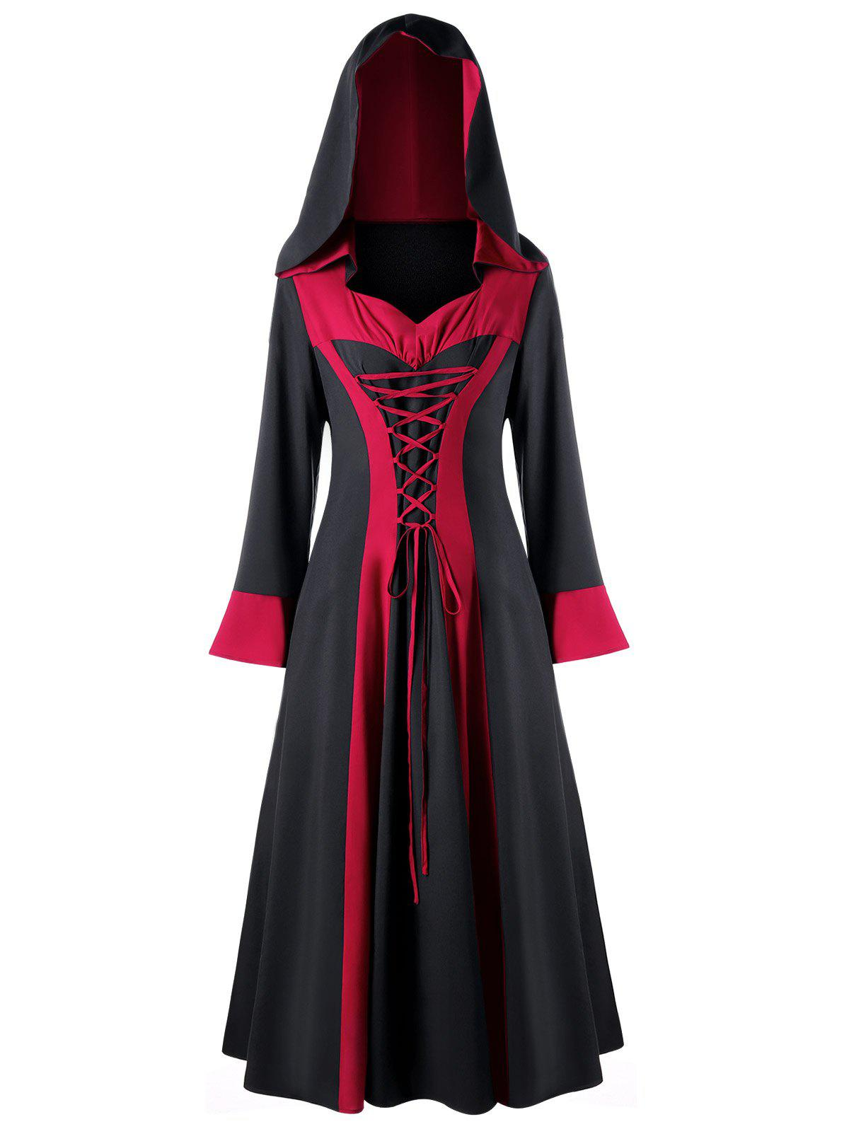 Plus Size Flare Sleeve Two Tone Lace Up Hooded DressWOMEN<br><br>Size: 5XL; Color: BLACK&amp;RED; Style: Casual; Material: Polyester,Spandex; Silhouette: A-Line; Dresses Length: Ankle-Length; Neckline: Hooded; Sleeve Type: Flare Sleeve; Sleeve Length: Long Sleeves; Embellishment: Criss-Cross; Pattern Type: Others; With Belt: No; Season: Fall,Spring,Winter; Weight: 0.4500kg; Package Contents: 1 x Dress;
